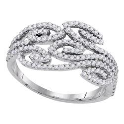 1/2 CTW Round Diamond Curled Strand Ring 10kt White Gold - REF-30R3H