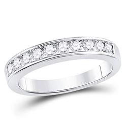 1/2 CTW Round Channel-set Diamond Wedding Ring 14kt White Gold - REF-50W4F