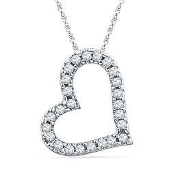 1/10 CTW Round Diamond Heart Pendant 10kt White Gold - REF-7A5N