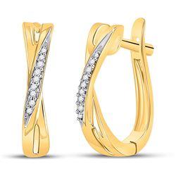 1/20 CTW Round Diamond Slender Crossover Hoop Earrings 10kt Yellow Gold - REF-14W4F