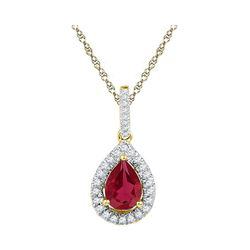 1 & 7/8 CTW Pear Lab-Created Ruby Solitaire Diamond Frame Pendant 10kt Yellow Gold - REF-11Y9X