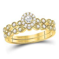 1/3 CTW Round Diamond Stackable Bridal Wedding Engagement Ring 10kt Yellow Gold - REF-39H3W