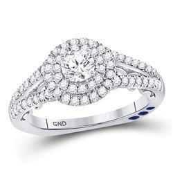 1 CTW Round Diamond Solitaire Bridal Wedding Engagement Ring 14kt White Gold - REF-126R3H