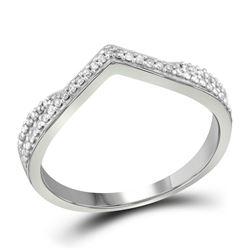 1/8 CTW Round Diamond Chevron Ring 10kt White Gold - REF-15A5N