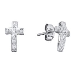 1/10 CTW Round Diamond Cluster Earrings 10kt White Gold - REF-8N4Y