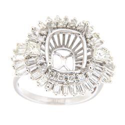 1.92 CTW Diamond Semi Mount Ring 14K White Gold - REF-196Y9X
