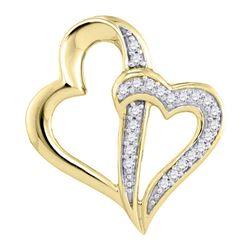 1/20 CTW Round Diamond Double Linked Heart Pendant 10kt Yellow Gold - REF-7F5M