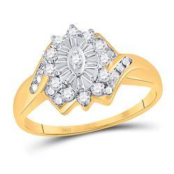 1/4 CTW Round Diamond Cluster Ring 10kt Yellow Gold - REF-15K5R