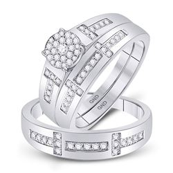 1/2 CTW His & Hers Round Diamond Cluster Matching Bridal Wedding Ring 10kt White Gold - REF-60X3T