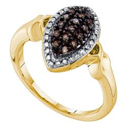 1/5 CTW Round Brown Diamond Oval Cluster Ring 10kt Yellow Gold - REF-18H3W