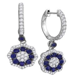 1 & 1/4 CTW Round Blue Sapphire Dangle Earrings 18kt White Gold - REF-126F3M