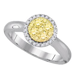 1/2 CTW Round Canary Yellow Diamond Circle Cluster Ring 14kt White Gold - REF-60M3A