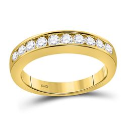 1/2 CTW Round Diamond Wedding Channel Set Ring 14kt Yellow Gold - REF-47X9T