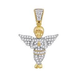 1/2 CTW Mens Round Diamond Guardian Angel Charm Pendant 10kt Yellow Gold - REF-26A3N