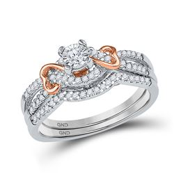 1/3 CTW Round Diamond Bridal Wedding Engagement Ring 10kt Two-tone Gold - REF-35M9A