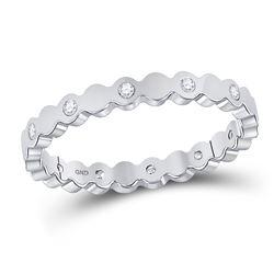 1/10 CTW Round Diamond Machine-Set Ring 14kt White Gold - REF-20H3W