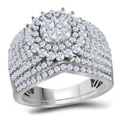 2 CTW Round Diamond Cluster Bridal Wedding Engagement Ring 14kt White Gold - REF-156W3F