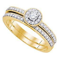 1/2 CTW Round Diamond Bridal Wedding Engagement Ring 10kt Yellow Gold - REF-35H9W