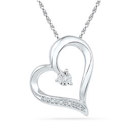 0.01 CTW Round Diamond Heart Pendant 10kt White Gold - REF-9H6W