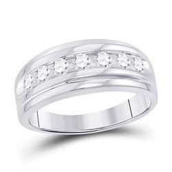 7/8 CTW Mens Round Diamond Wedding Channel-Set Ring 10kt White Gold - REF-63M3A
