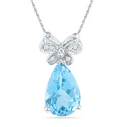 2 & 1/2 CTW Pear Lab-Created Blue Topaz Butterfly Bug Diamond Pendant 10kt White Gold - REF-14H4W