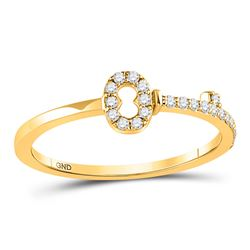 1/8 CTW Round Diamond Key Stackable Ring 10kt Yellow Gold - REF-13X2T