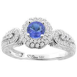 1.09 CTW Tanzanite & Diamond Ring 14K White Gold - REF-91N3Y