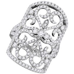 1 & 5/8 CTW Round Diamond Vintage-style Knuckle Ring 14kt White Gold - REF-171A6N