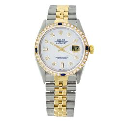 Rolex Pre-owned 36mm Mens White MOP Two Tone - REF-610Y4W