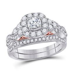 1 CTW Round Diamond Bridal Wedding Engagement Ring 14kt Two-tone Gold - REF-111N3Y