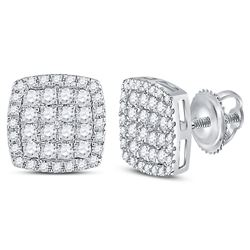 3/4 CTW Round Diamond Square Cluster Earrings 14kt White Gold - REF-47W9F