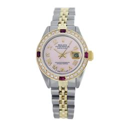 Rolex Pre-owned 26mm Womens Custom Pink Two Tone - REF-520H4N