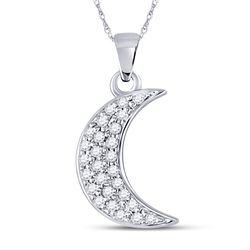 1/8 CTW Round Diamond Crescent Moon Fashion Pendant 10kt White Gold - REF-7W5F