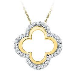 1/8 CTW Round Diamond Quatrefoil Cutout Pendant 10kt Yellow Gold - REF-9Y3X