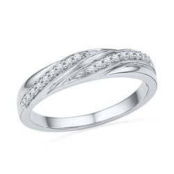 1/10 CTW Round Diamond Simple Ring 10kt White Gold - REF-13M2A
