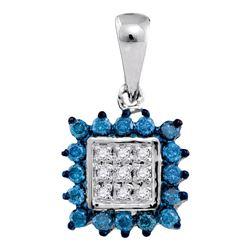 1/3 CTW Round Blue Color Enhanced Diamond Square Cluster Pendant 10kt White Gold - REF-11Y9X