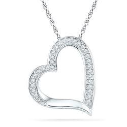 1/8 CTW Round Diamond Heart Outline Pendant 10kt White Gold - REF-8T4K