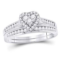 1/2 CTW Diamond Heart Bridal Wedding Engagement Ring 10kt White Gold - REF-33K3R