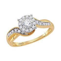 1/3 CTW Round Diamond Cluster Bridal Wedding Engagement Ring 14kt Yellow Gold - REF-45H5W