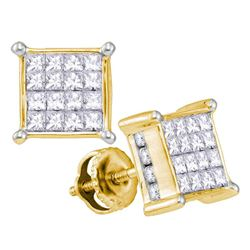 1 CTW Princess Diamond Cluster Stud Earrings 14kt Yellow Gold - REF-60K3R