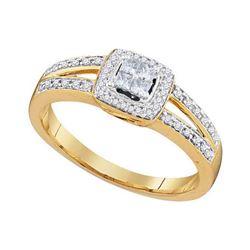 1/5 CTW Princess Diamond Cluster Bridal Wedding Engagement Ring 10kt Yellow Gold - REF-16W8F
