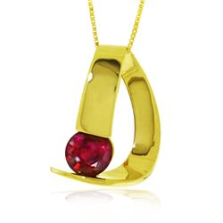 Genuine 1.50 ctw Ruby Necklace 14KT Yellow Gold - REF-58M4T