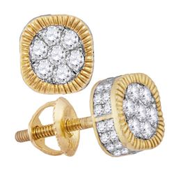 1 CTW Mens Round Diamond Fluted Flower Cluster Earrings 10kt Yellow Gold - REF-47N9Y