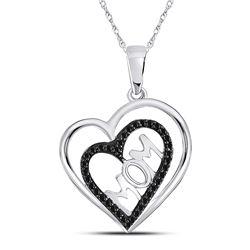 1/8 CTW Round Black Color Enhanced Diamond Mom Mother Heart Pendant 10kt White Gold - REF-8F4M
