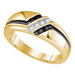 1/5 CTW Mens Round Black Color Enhanced Diamond Ring 10kt Yellow Gold - REF-24W3F