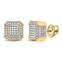 1/4 CTW Mens Round Diamond Square Cluster Earrings 10kt Yellow Gold - REF-27K5R