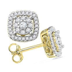 1/2 CTW Round Diamond Framed Square Cluster Screwback Earrings 10kt Yellow Gold - REF-32A3N