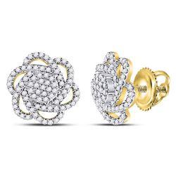 3/8 CTW Round Diamond Pinwheel Cluster Earrings 10kt Yellow Gold - REF-30K3R