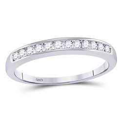 1/4 CTW Round Diamond Wedding Channel Set Ring 14kt White Gold - REF-25A5N