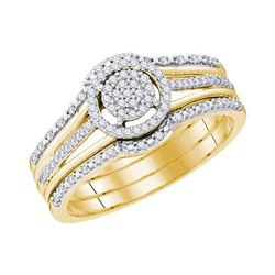 1/4 CTW Round Diamond Cluster Bridal Wedding Engagement Ring 10kt Yellow Gold - REF-30Y3X